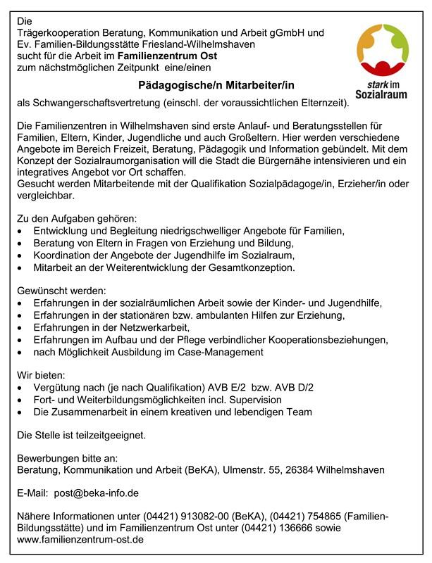 Stellenausschreibung - pädagogische/r Mitarbeiter/in